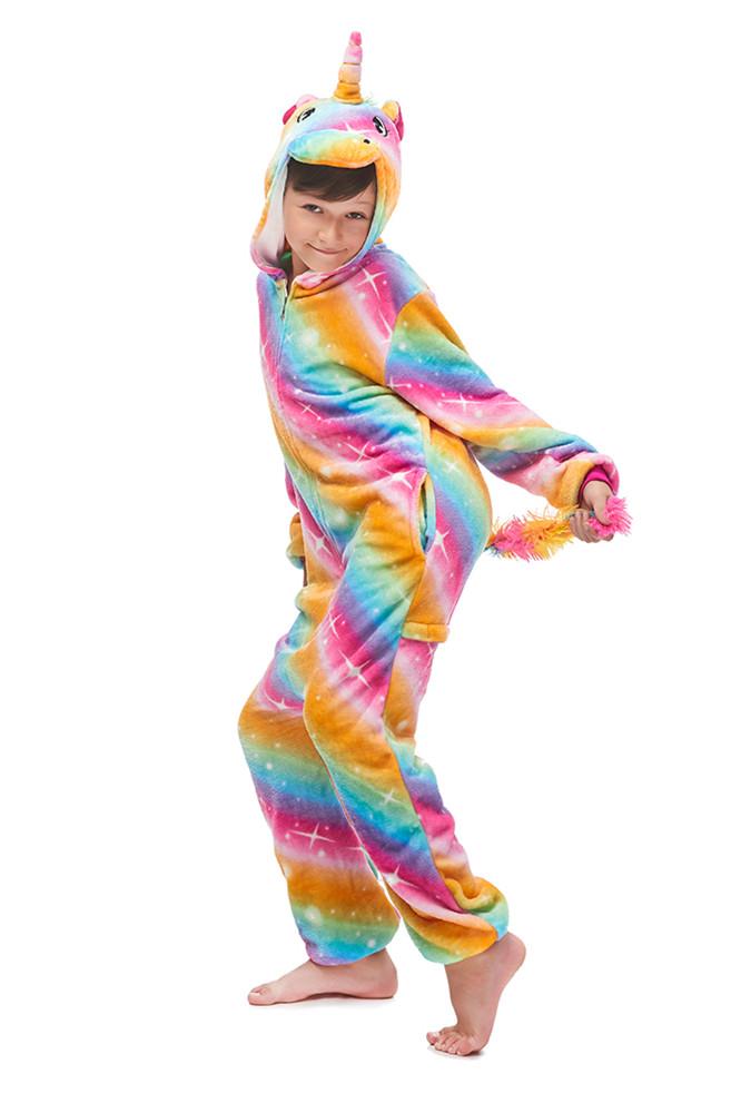 Kigurumi mosaique or Pegasus pyjamas Animal Onesie pour enfants filles garcons vetements de nuit enfants dessin anime arc en ciel couleur point pyjama