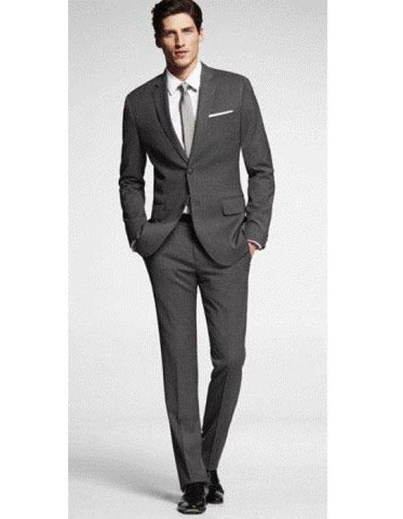 Mens charcoal suit grey tie 2button notch lapel side vented Slim Fit
