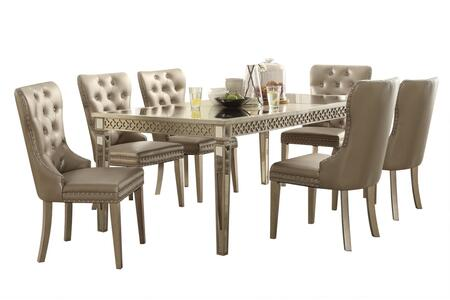Kacela Collection 721557SET 7 PC Dining Room Set with Extendable Dining Table and 6 PU Leather Upholstered Side Chairs in Champagne