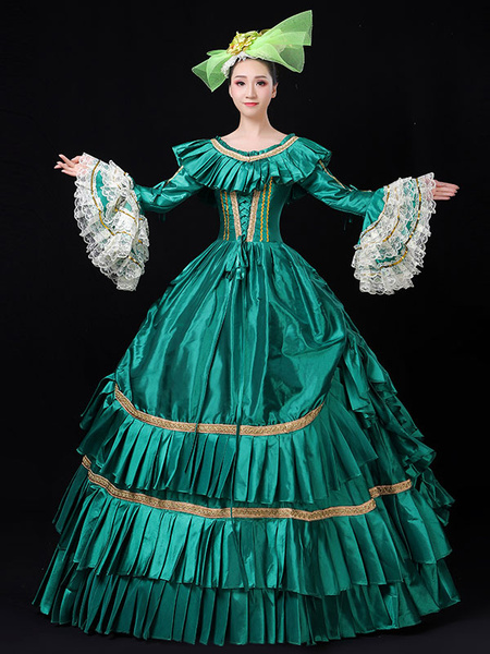 Milanoo Victorian Dress Costume Womens Green Lace Trumpet Long Sleeves Ruffles Embroidered Royal Marie Antoinette Ball Gown Victorian Era Clothing Co