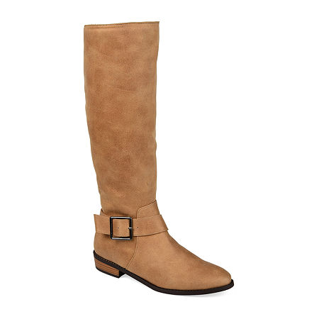 Journee Collection Womens Winona Riding Boots Stacked Heel, 7 Medium, Brown