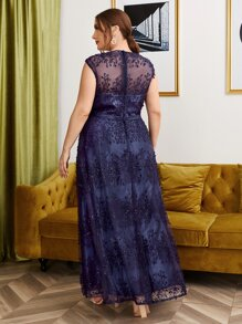 Plus Embroidered Mesh Sequin Detail Dress