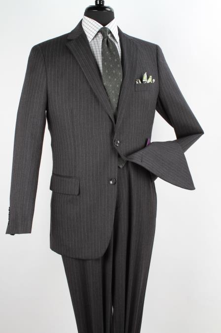 2 Piece 1Wool Executive Suit Notch Lapel Charcoal with Silver Stripe