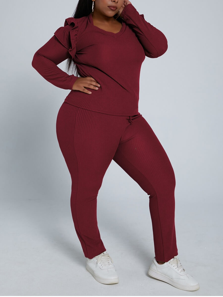 LW Lovely Trendy V Neck Flounce Design Wine Red Plus Size Two-piece Pants Set
