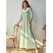 Contrast Peter Pan Collar Ditsy Floral Dress