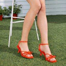 Bow Decor Ankle Strap Sculptural Heeled Sandals