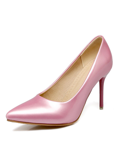 Milanoo Women High Heels Plus Size Pink Pointed Toe Slip On Pumps