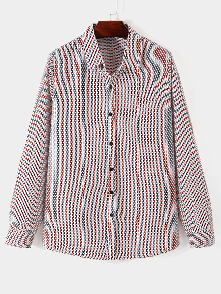 Yoins Men Fall  Casual All Over Print Button Front Long Sleeve Shirt