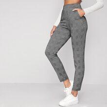 Elastic Waist Slant Pocket Plaid Pants