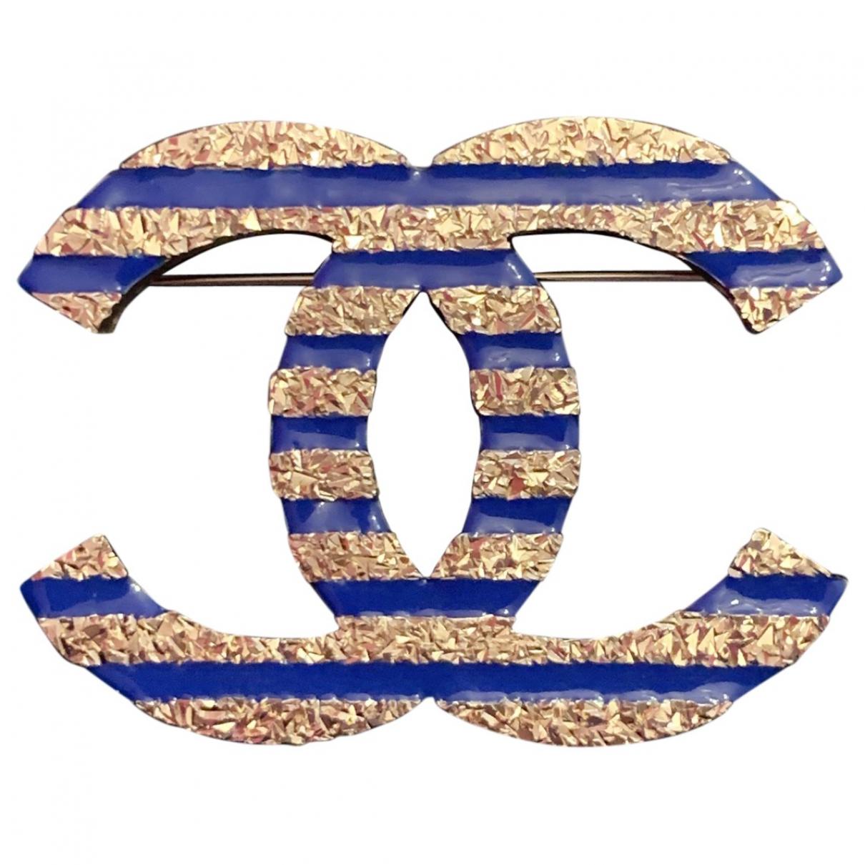 Chanel - Broche CC pour femme en acier - marine