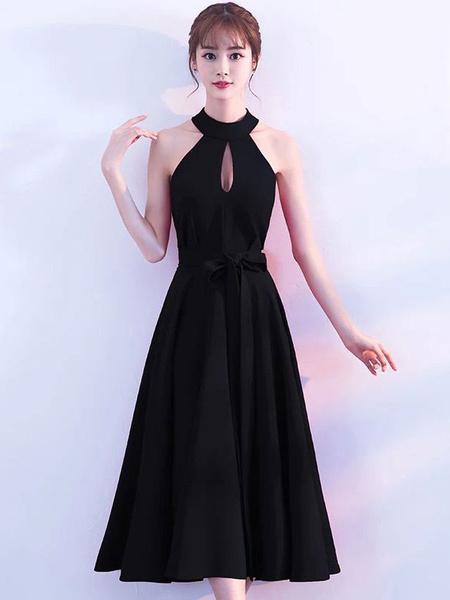 Milanoo Vestidos de fiesta negros Vestido de coctel corto Vestido de fiesta sin mangas de corte de cabestro Vestido negro pequeño