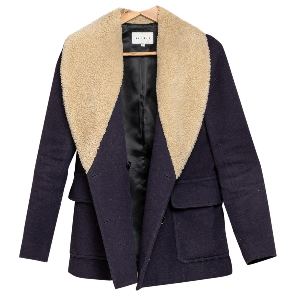 Sandro - Manteau   pour femme en laine - bleu