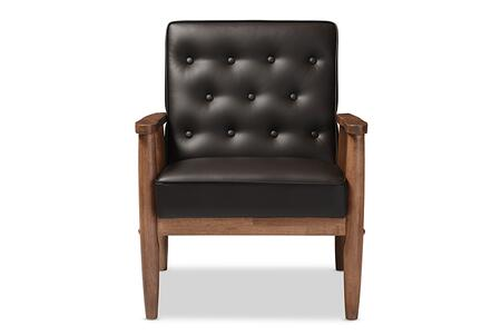 Sorrento Collection BBT8013-BROWNCHAIR Chair with Splayed Tapered Legs  Removable Cushion  Mid-Century Style  Rubberwood Frame  Foam Filled Cushion