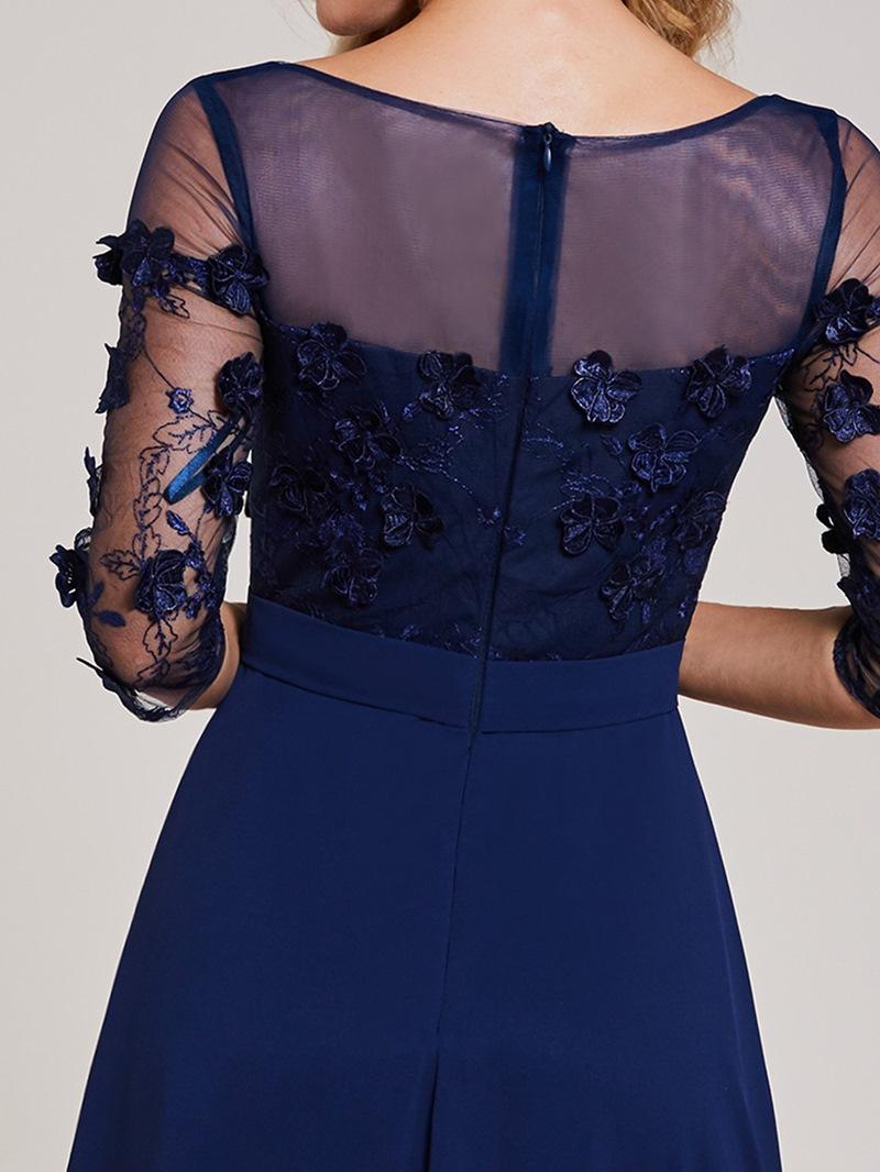 Ericdress Bateau Neck Appliques Split-Front A Line Evening Dress