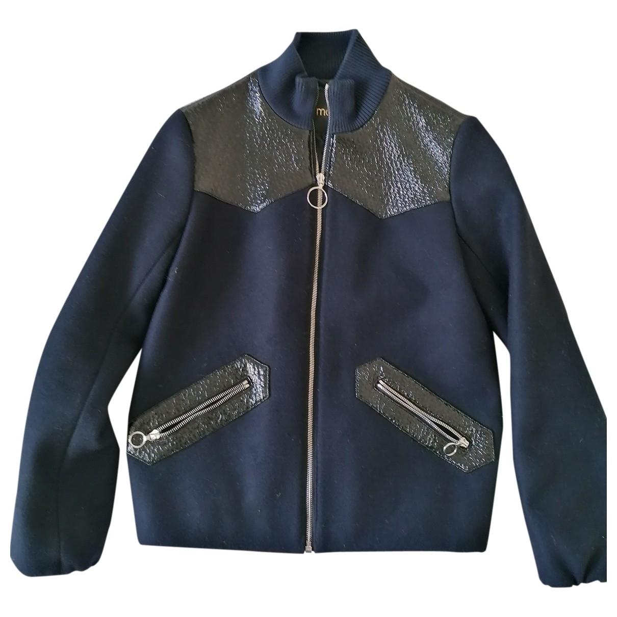 Maje \N Blue Wool Leather jacket for Women 38 FR