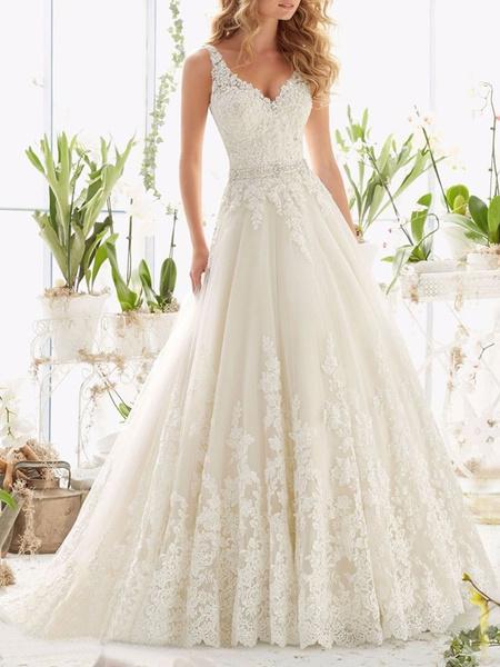 Milanoo Wedding Dresses V Neck Sleeveless A Line Lace Embellishment Beaded Sash Bridal Dresses With Train