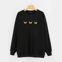 Butterfly Print Drop Shoulder Oversized Sweatshirt