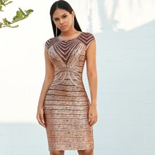 Adyce Mesh Insert Metallic Bandage Dress