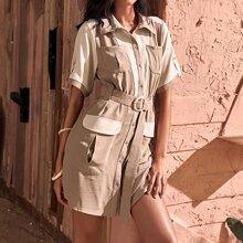 Vestido con cinturon con hebilla con boton delantero con bolsillo con solapa de color combinado