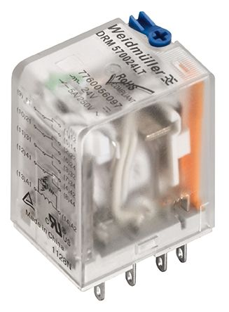 Weidmuller DRM Series , 24V 4PDT Interface Relay Module, Plug In Terminal , Panel Mount