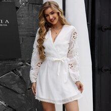 Yilibasha Surplice Neck Belted Lace Trim Cut-out Dress