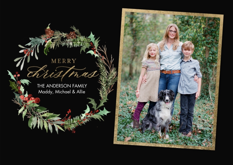 Christmas Photo Cards 5x7 Cards, Premium Cardstock 120lb with Elegant Corners, Card & Stationery -Christmas Greenery Wreath by Tumbalina