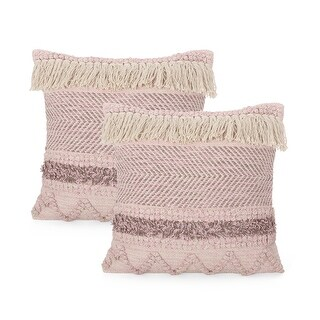 Arbuton Hand-Loomed Boho Throw Pillow by Christopher Knight Home (Pink + Natural - Set of 2)