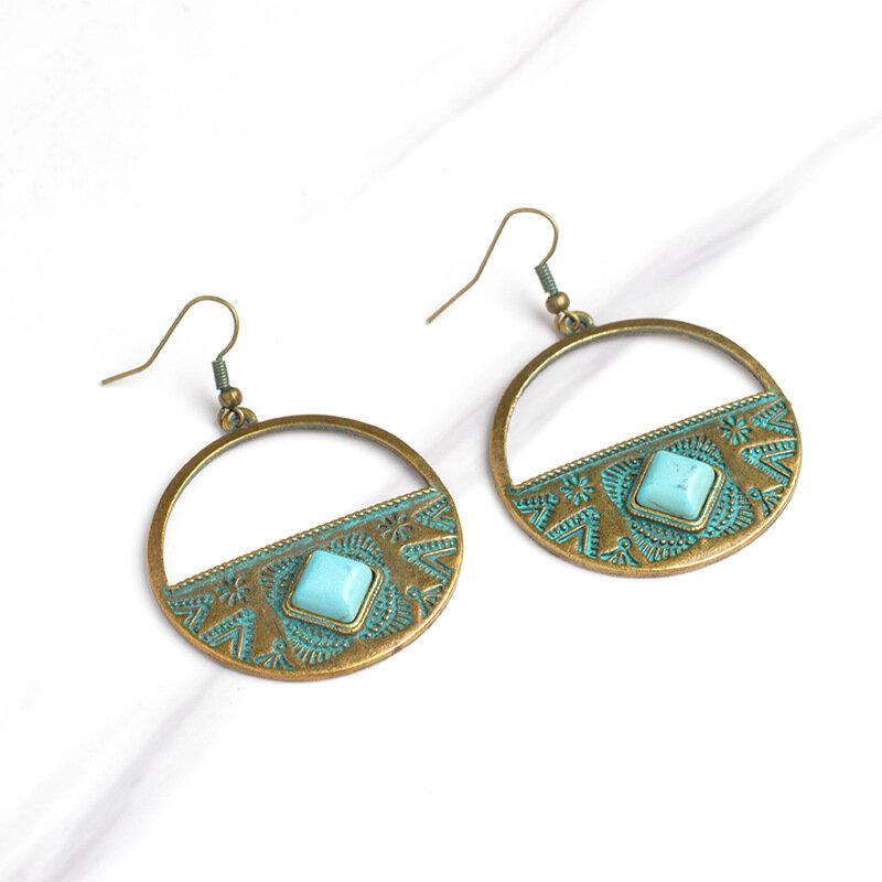 Vintage Ear Drop Earrings Round Carve Pattern Geometric Rock Charm Earrings Ethnic Jewelry for Women