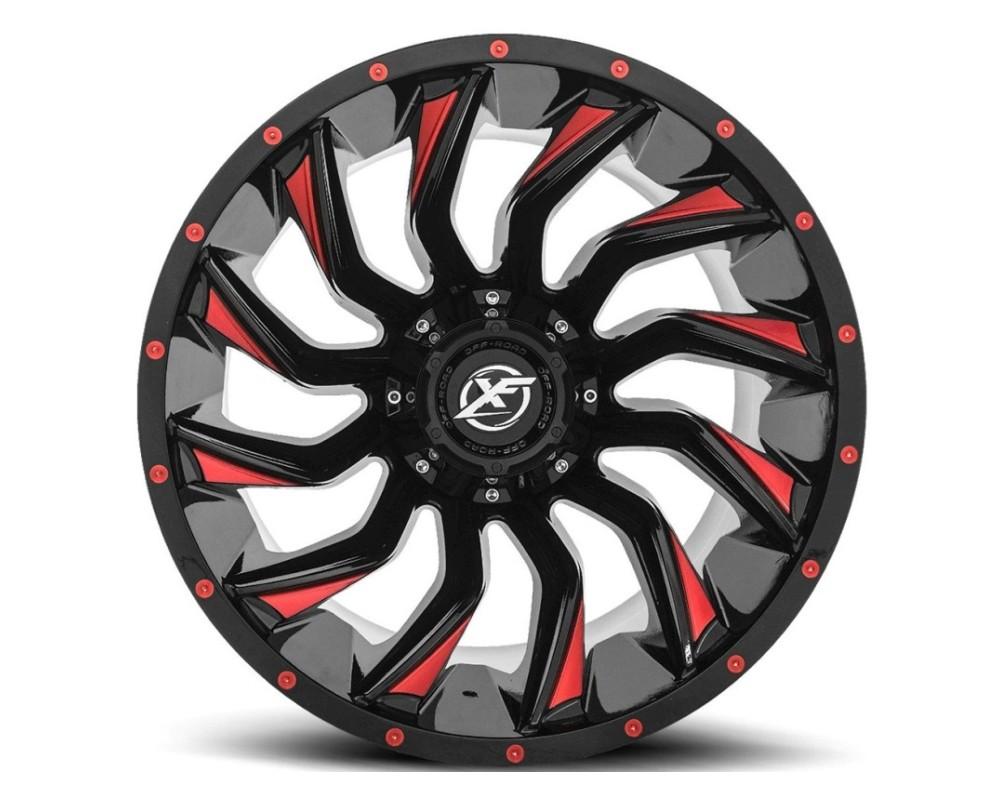 XF Off-Road XF-224 Wheel 24x14 8x165.1|8x180 -76mm Gloss Black w/ Red Milling