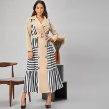 Notch Collar Striped Panel Double Button Self Belted Trench Coat