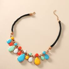 Gemstone Decor Waterdrop Pendant Necklace