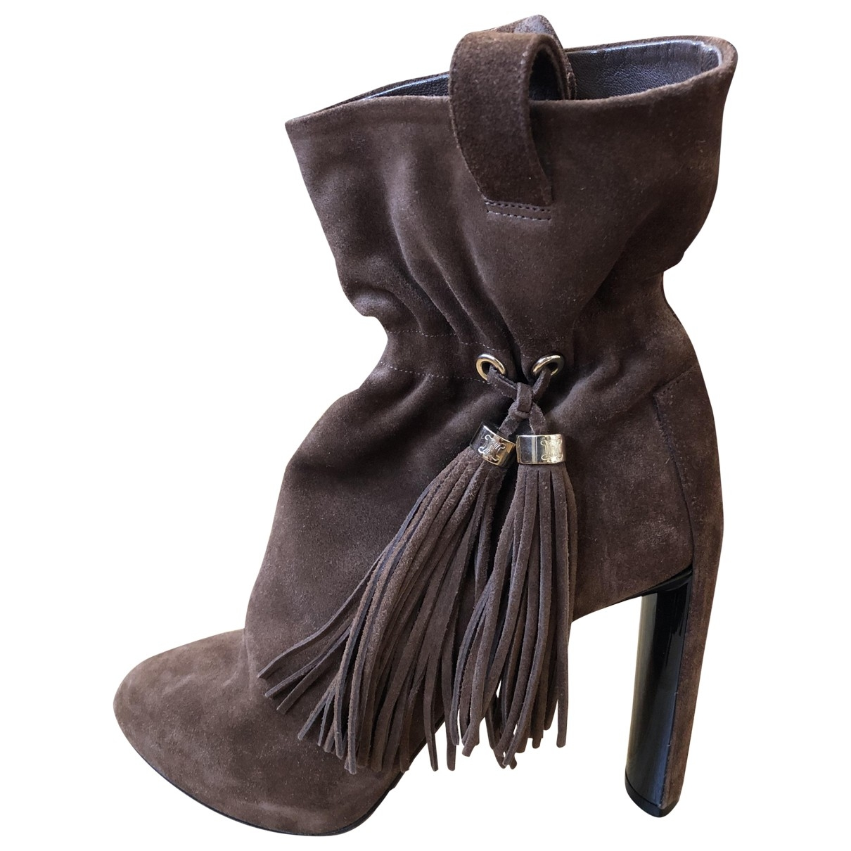 Celine \N Brown Suede Ankle boots for Women 37.5 EU