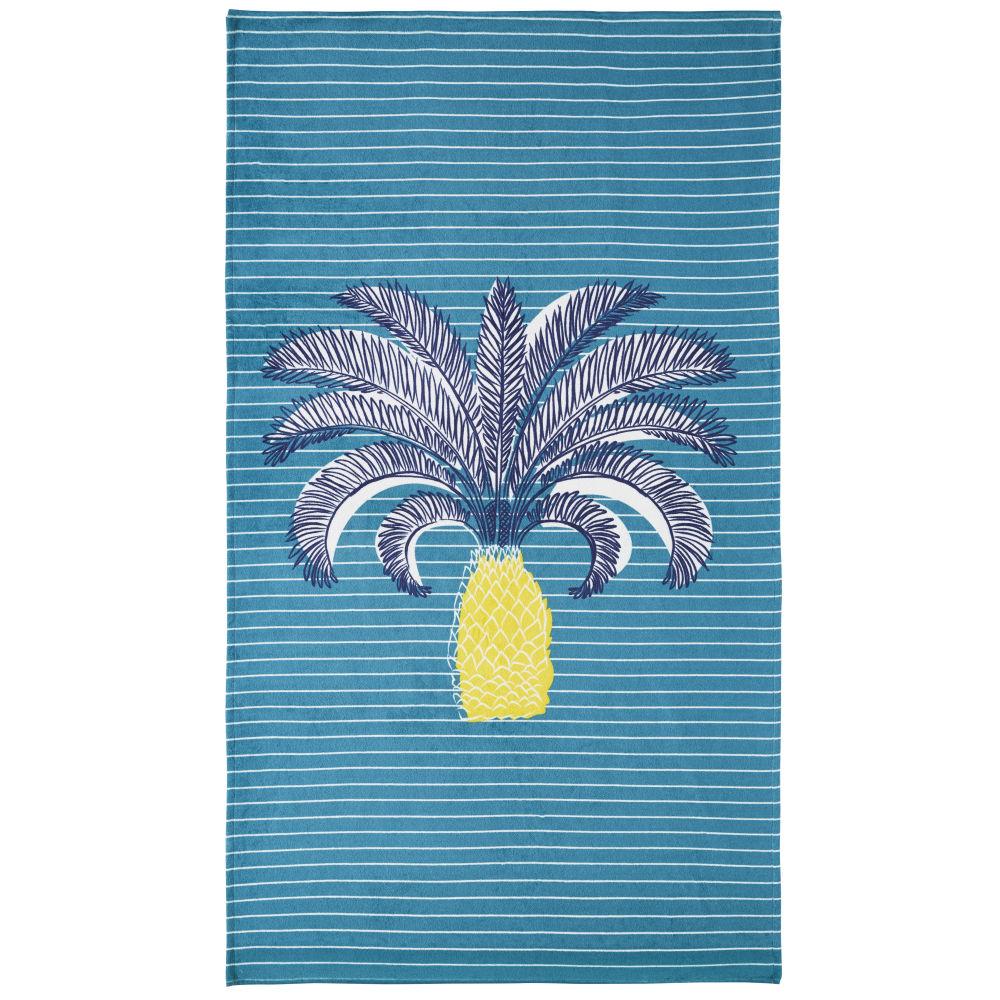 Strandtuch aus Baumwolle, blau mit Motiven 90x180