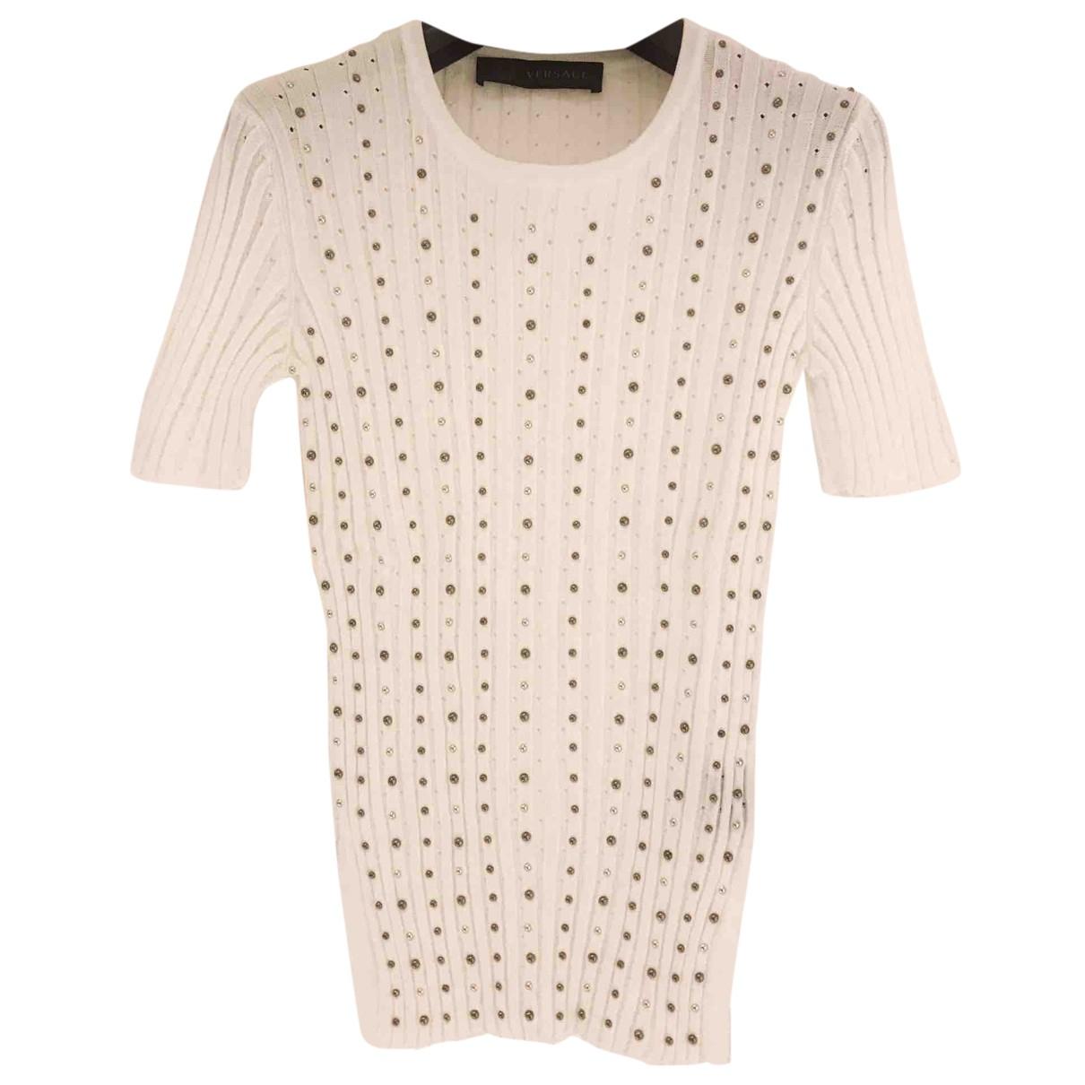 Versace - Pull   pour femme en coton - blanc