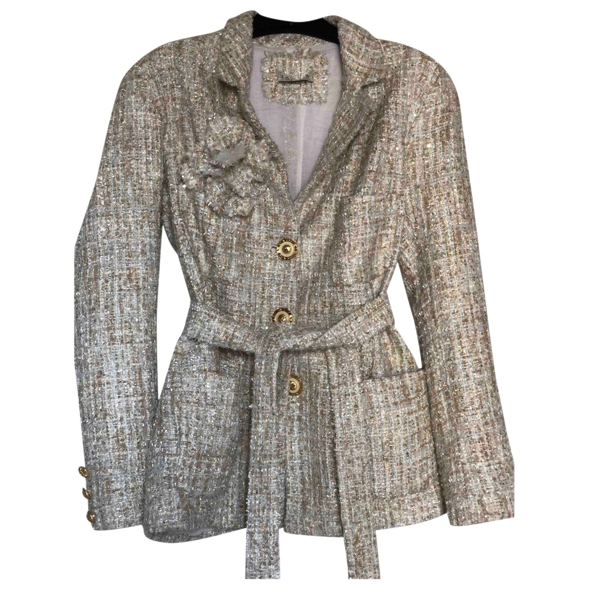 Non Signé / Unsigned \N Beige Tweed jacket for Women 36 FR