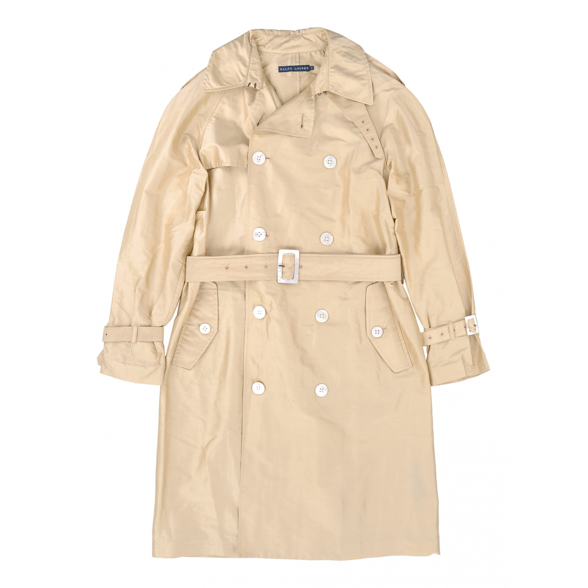 Lauren Ralph Lauren N Gold Silk Trench coat for Women 10 US