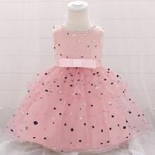 Toddler Girls Polka Dot Mesh Panel Bow Front Dress