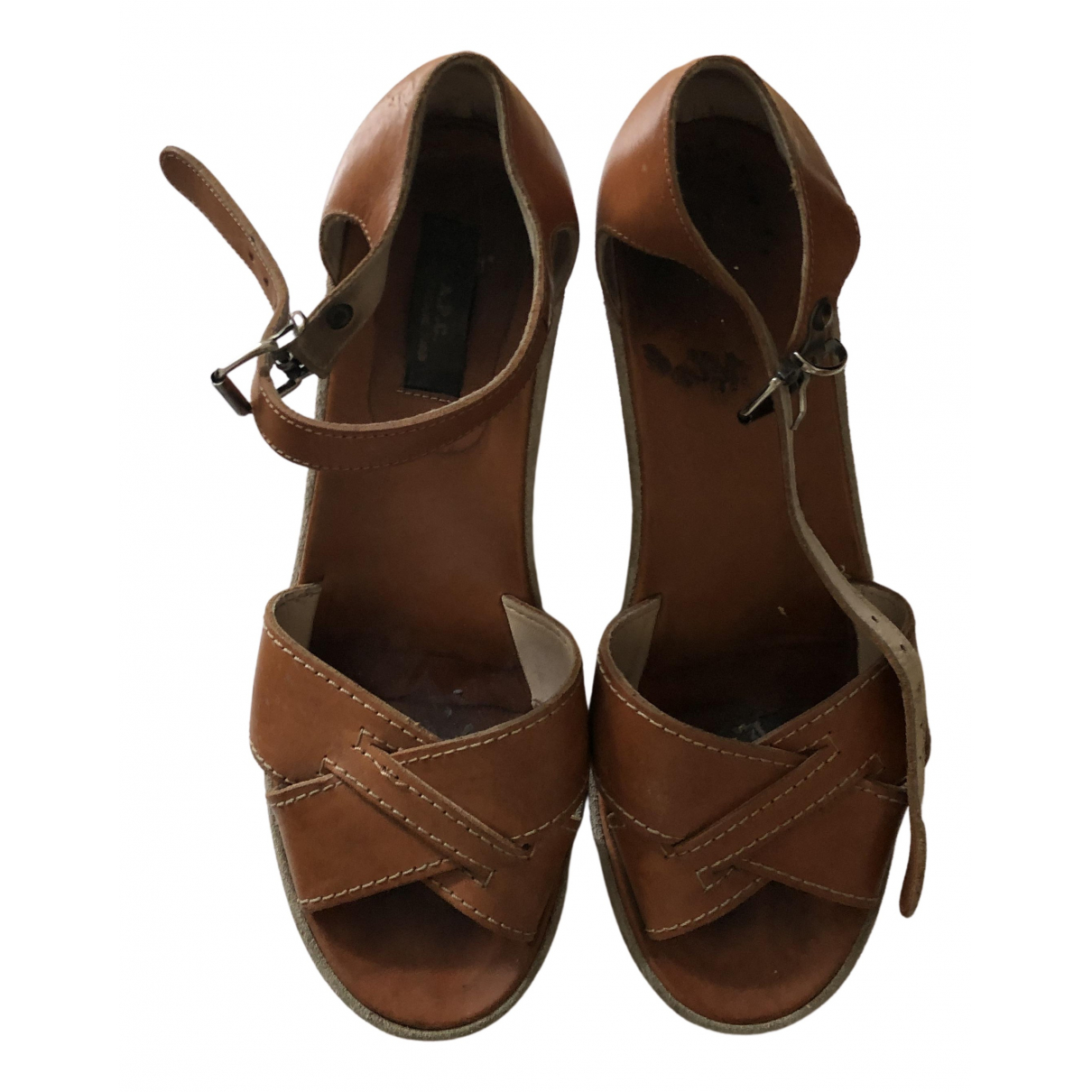 Apc N Brown Leather Sandals for Women 39 EU