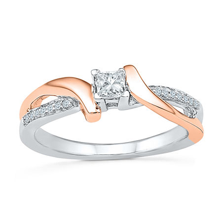 Promise My Love Womens 1/5 CT. T.W. Genuine White Diamond 10K Gold Over Silver Promise Ring, 6 , No Color Family
