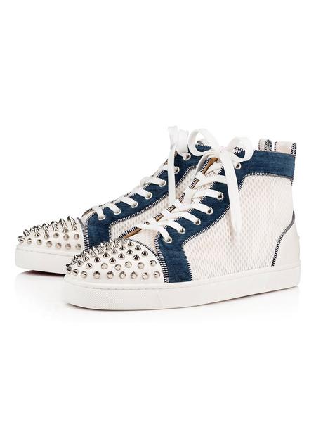 Milanoo Zapatillas para hombres 2020 Remaches con punta redonda Zapatillas de deporte con cordones Zapatillas de skate blancas