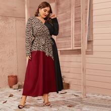 Plus Colorblock Leopard Panel Self Belted Dress