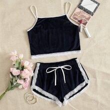 Conjunto de pijama de tirantes panel con encaje unido en contraste