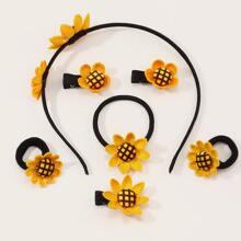 7pcs Toddler Girls Sunflower Decor Hair Acc