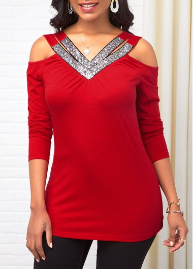 Women'S Red Cold Shoulder Sequin Long Sleeve Holiday T Shirt  Solid Color V Neck Tunic Casual Top By Rosewe - M