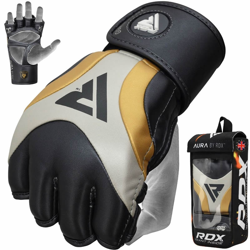 RDX T17 AURA MMA Grappling Gloves PU Leather Extra Large Golden/Blue/White