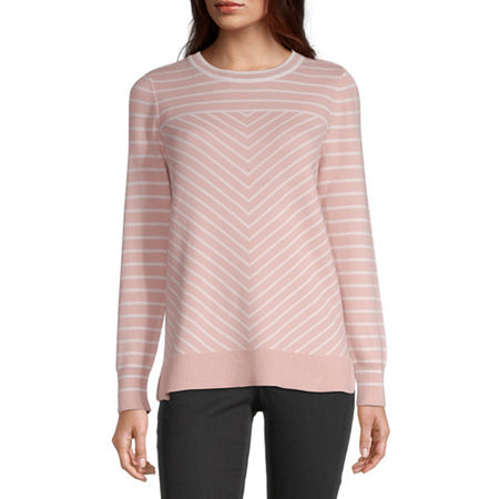 Liz Claiborne Womens Crew Neck Chevron Pullover Sweater, X-large , Pink