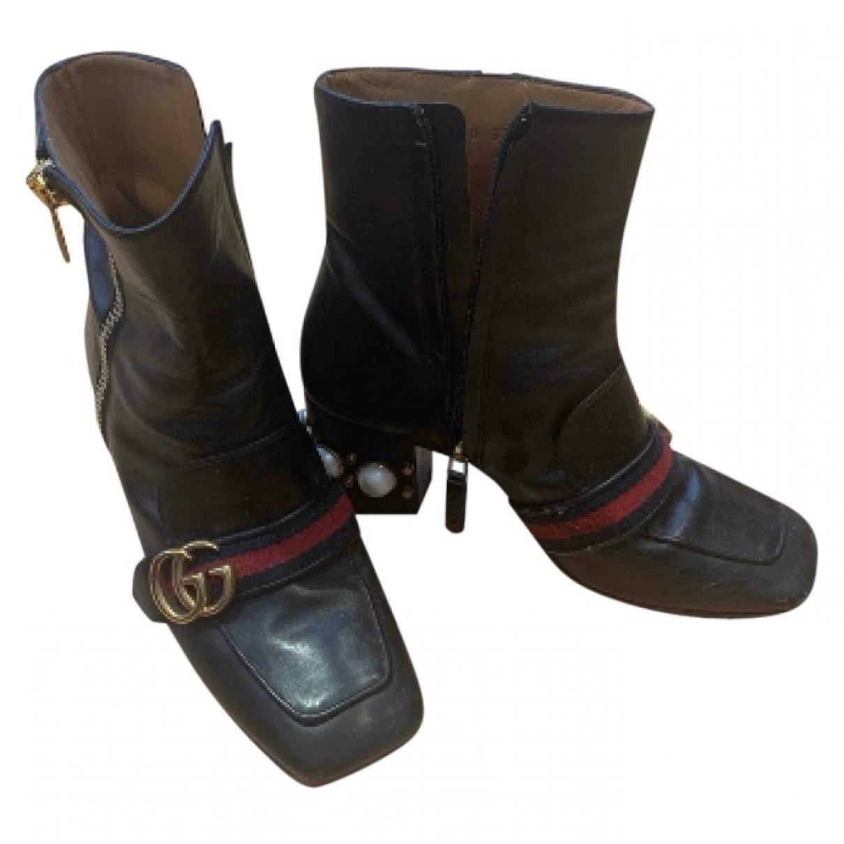 Gucci - Boots Marmont pour femme en cuir - noir