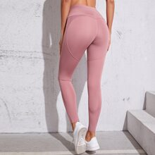 Wideband Waist Seam Detail Sports Leggings