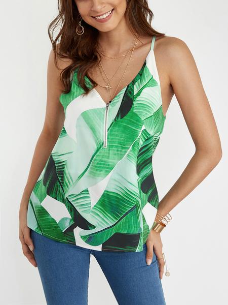 Yoins Green Zipper Front Random Floral Print Cami Top