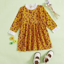 Toddler Girls Ditsy Floral Frill Corduroy Dress